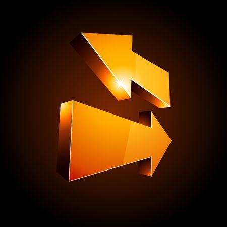 3D return arrows.  Vector