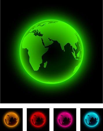 Neon globe icon. Vector