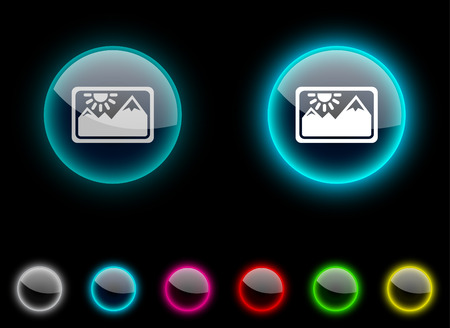 Picture realistic icons. Empty buttons included. Stock Vector - 6648604