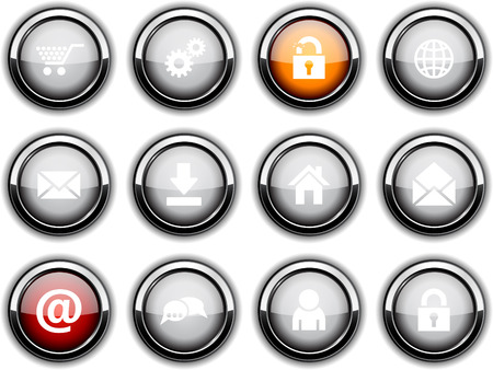 web set of round glossy icons. Vector