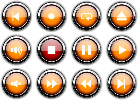 Player set of round glossy icons. Vector