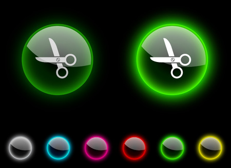 scissors realistic icons. Empty buttons included. Vector
