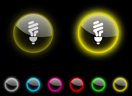 Fluorescent bulb realistic icons. Empty buttons included.  Vector