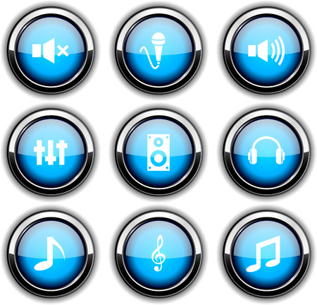Audio set of round glossy icons. Vector