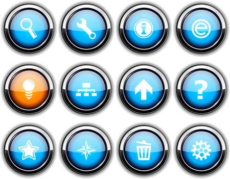 web set of round glossy icons. Stock Vector - 6684686