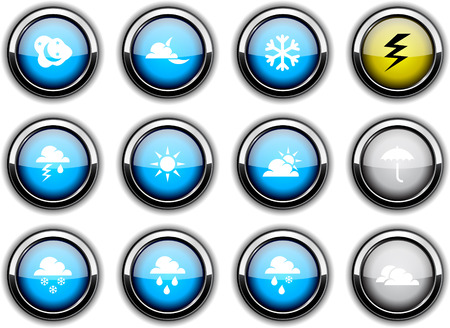 Weather set of round glossy icons. Vector