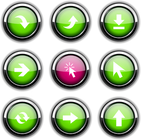 Arrows set of round glossy icons. Vector
