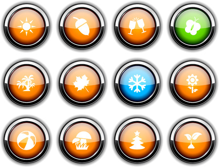 Seasons set of round glossy icons. Vector