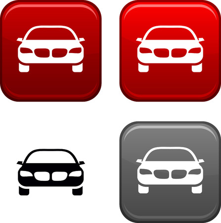glossy icon: Car square buttons. Black icon included.  Illustration
