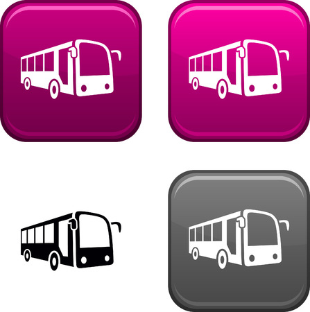 Bus square buttons. Black icon included. Vector