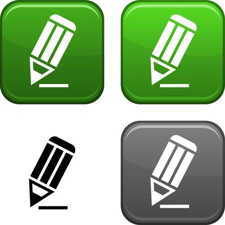 pencil set: Pencil square buttons. Black icon included.