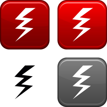 electricity icon: warning square buttons. Black icon included.  Illustration