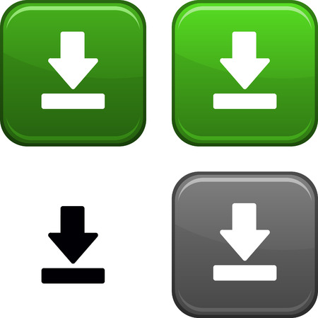 download icon: Download square buttons. Black icon included. Illustration