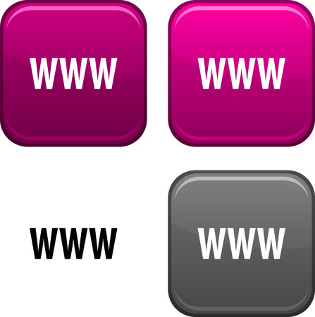 WWW square buttons. Black icon included. Stock Vector - 6707843