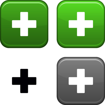 Switzerland square buttons. Black icon included.  Vector