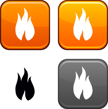 Fire square buttons. Black icon included.  Vector