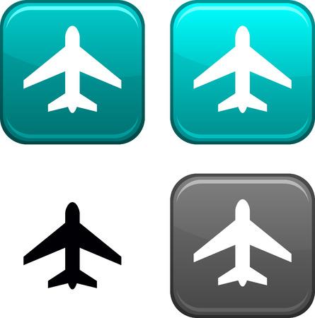 aereo icona: Pulsanti quadrati di aeromobili. Icona Nero incluso.