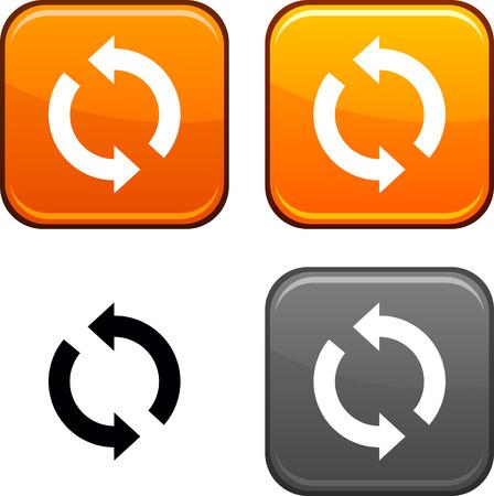 Actualizar los botones cuadrados. Icono negro incluido.  Ilustración de vector