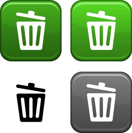 papelera de reciclaje: Reciclar botones cuadrados de bin. Icono negro incluido.  Vectores