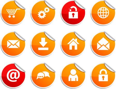 arroba: web  set of round glossy stickers. Illustration