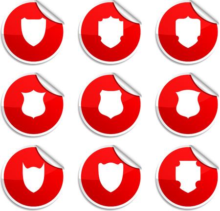 shield set: Shield set of round glossy stickers.