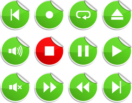 Player set of round glossy stickers. Vector