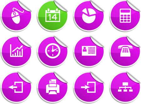 Office set of round glossy stickers. Stock Vector - 6707929