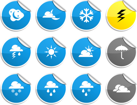 Weather set of round glossy stickers. Vector