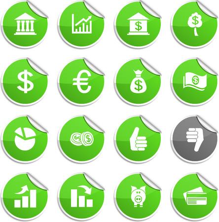 Money set of round glossy stickers. Illustration