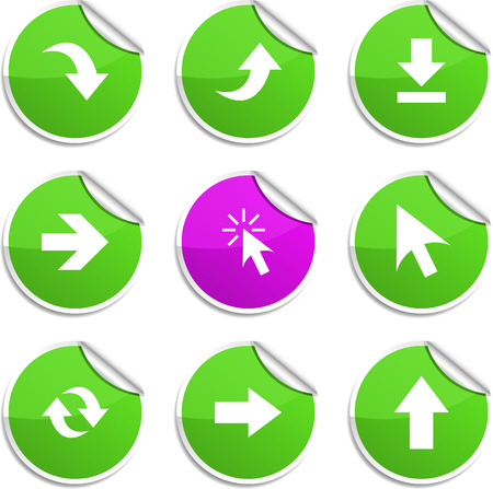 Arrows  set of round glossy stickers. Vector