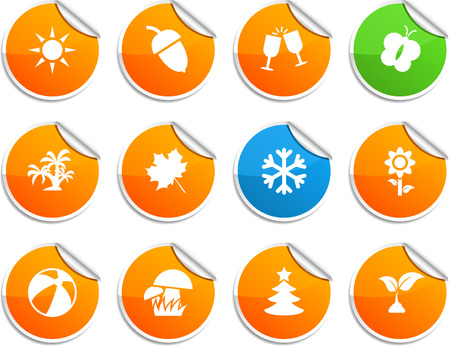 Seasons set of round glossy stickers. Vector