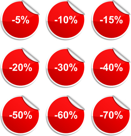 Discount set of round glossy stickers. Vector
