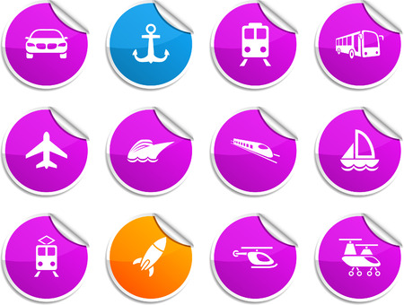 Transport set of round glossy stickers. Vector