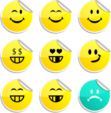 Smiley set of round glossy stickers.