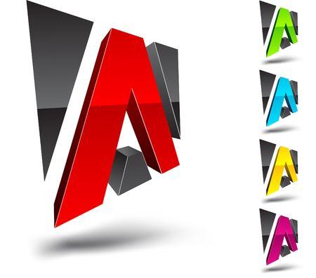 logotipo abstracto: Ilustraci�n de A elemento de dise�o 3d.