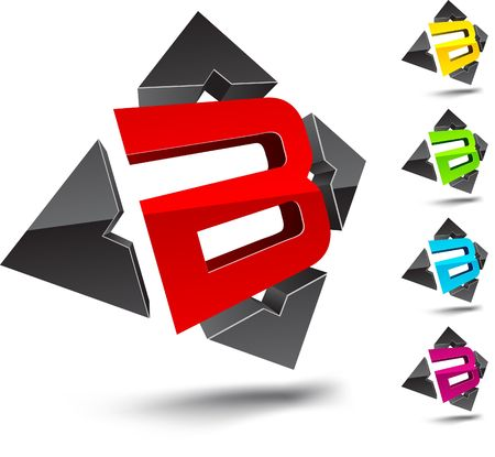 abstract letters: Illustration of B 3d design element.