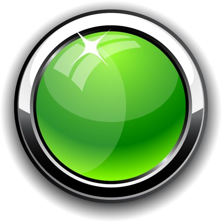 Green glossy button. Vector