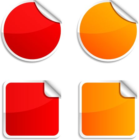 etiquetas redondas: Pegatinas redondos y cuadrados brillantes.