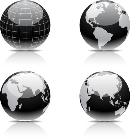 Glossy globe icons.  Stock Vector - 6722513