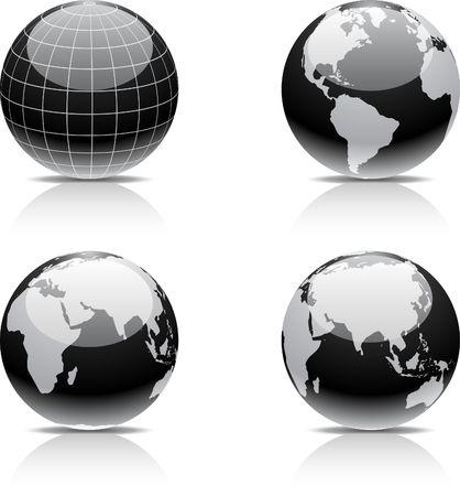grid black background: Glossy globe icons.
