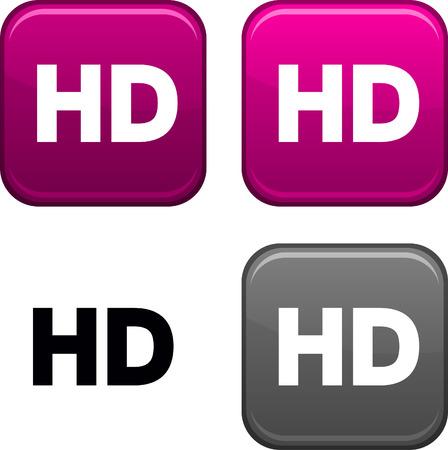 definici�n: Botones cuadrados HD. Icono negro incluido.  Vectores