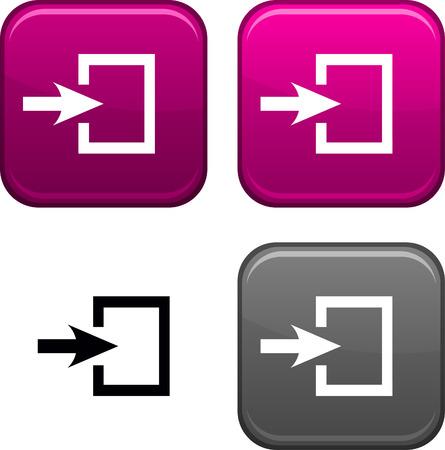 Ingang vierkante knoppen. Zwarte pictogram inbegrepen.