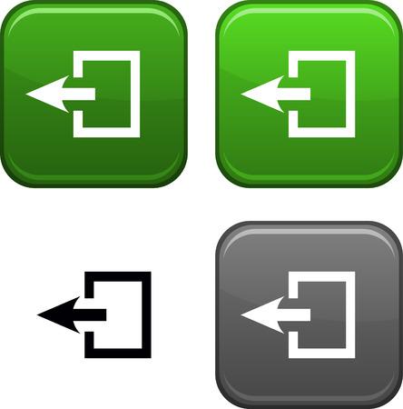 Sortie boutons carrés. Icône noir inclus.  Vecteurs