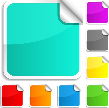 web buttons set: Set of square glossy stickers. Illustration
