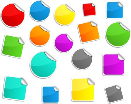 Round and square glossy stickers. Stock Vector - 6740512