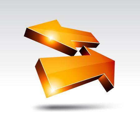 3D return arrows.  illustration.  Vector