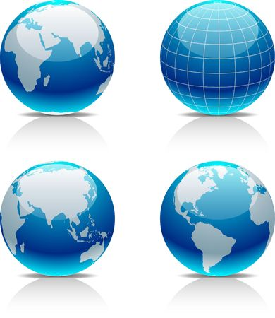 asia globe: Glossy globe icons. illustration.