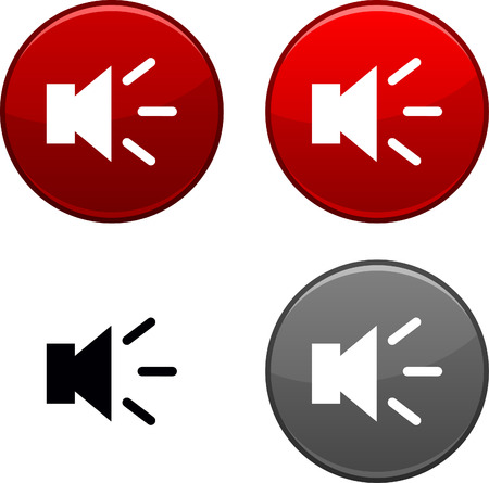 Sound round buttons. Black icon included. Stock Vector - 6740472
