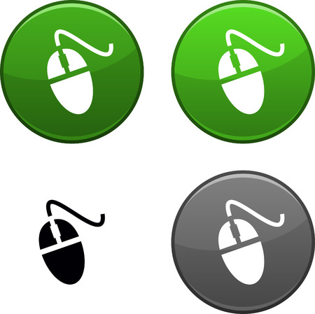 Mouse round buttons. Black icon included.  Illustration
