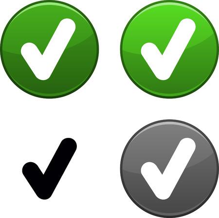 check icon: Compruebe los botones redondos. Icono negro incluido.